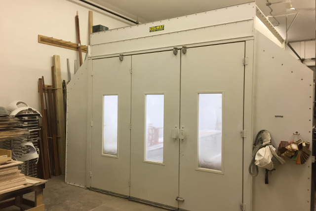 Spray booth front